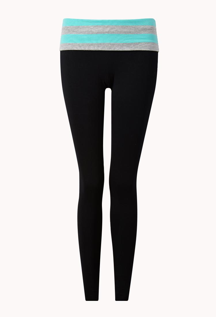 6499198960 Forever 21 Skinny Foldover Yoga Pants in Green - Lyst