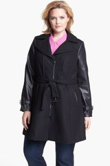 Gallery Belted Wool Blend Faux Leather Walking Coat - Lyst