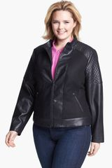 Gallery Faux Leather Wool Blend Scuba Jacket - Lyst