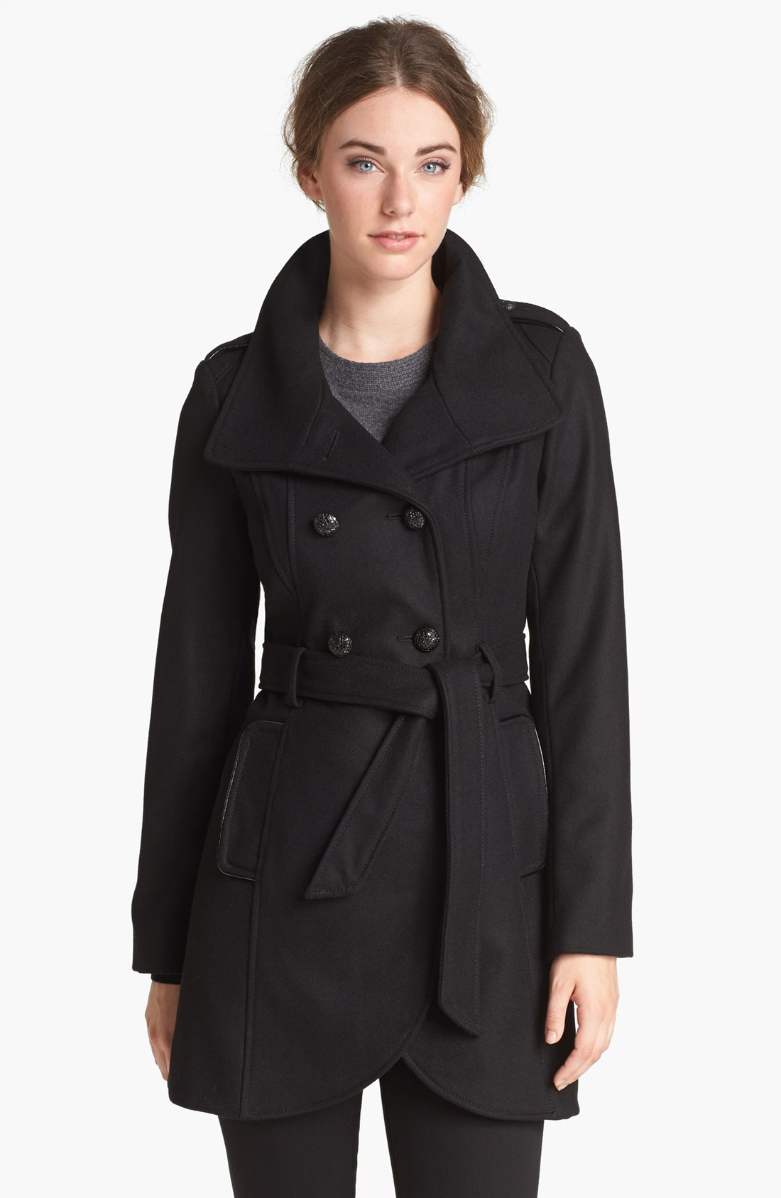 Guess Belted Wool Blend Trench Coat In Black Lyst