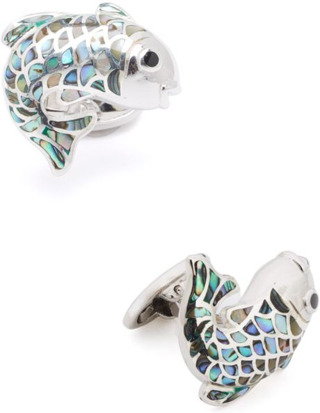 Jan leslie sterling silver koi fish cufflinks in blue for for Silver koi fish