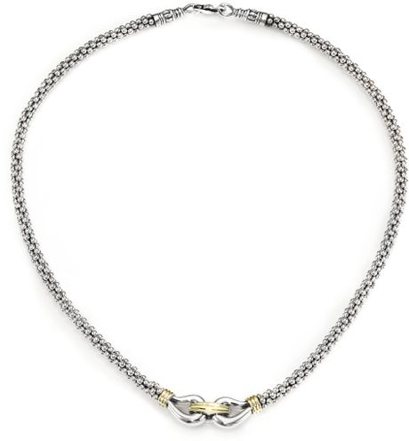 Lagos | White Sterling Silver and 18k Yellow Gold Caviar Necklace | Lyst
