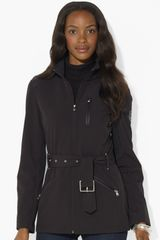 Lauren by Ralph Lauren Belted Scuba Jacket - Lyst