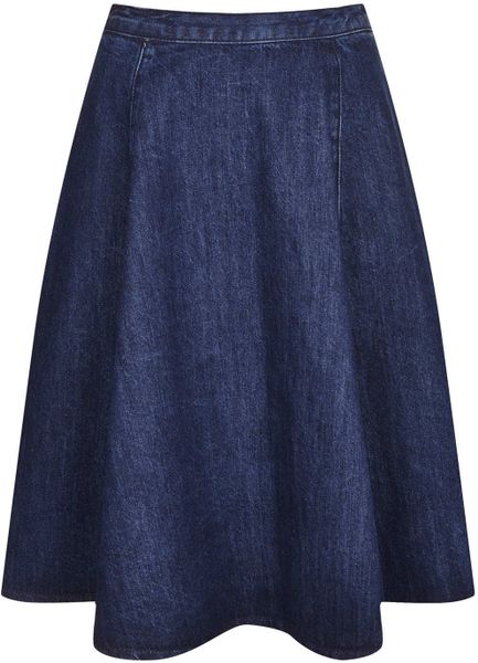 topshop moto denim midi skirt in blue indigo lyst
