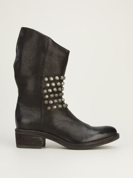 vic matie 39 vic matie studded boot in black lyst. Black Bedroom Furniture Sets. Home Design Ideas