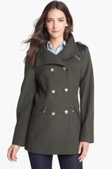 Vince Camuto Wool Blend Military Peacoat - Lyst