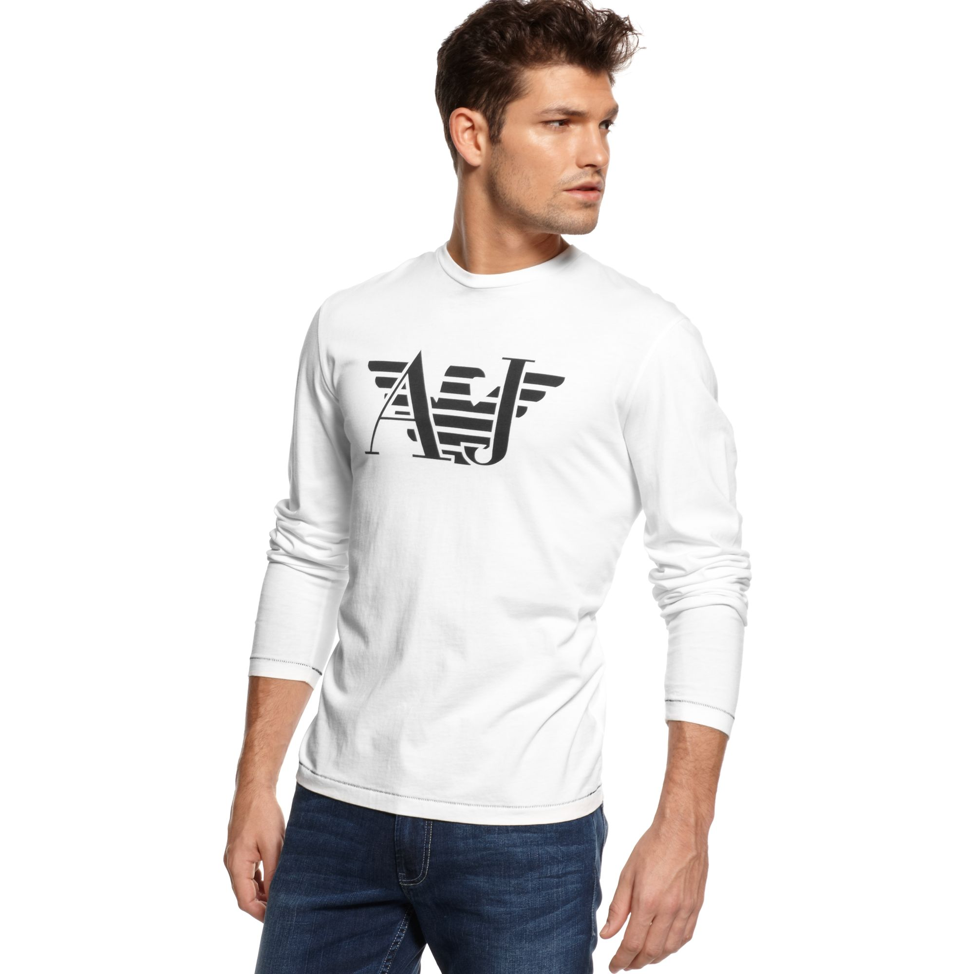 armani jeans long sleeve aj eagle tshirt in white for men lyst. Black Bedroom Furniture Sets. Home Design Ideas