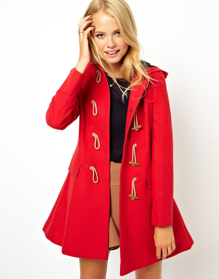 Asos Asos Hooded Duffle Coat in Red | Lyst