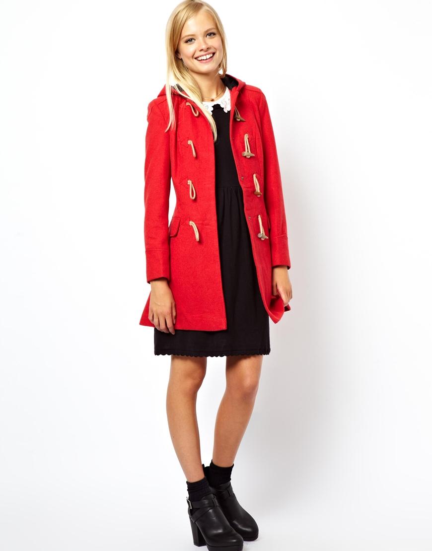 Red Hooded Duffle Coat