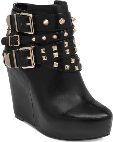 Bcbgeneration Aspen Studded Wedge Booties in Black - Lyst