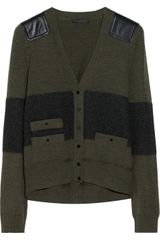Belstaff Langham Leather-paneled Wool-blend Cardigan - Lyst