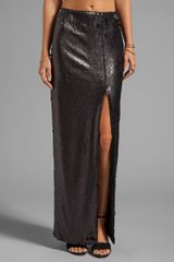 Blaque Label Sequins High Slit Maxi Skirt in Black - Lyst