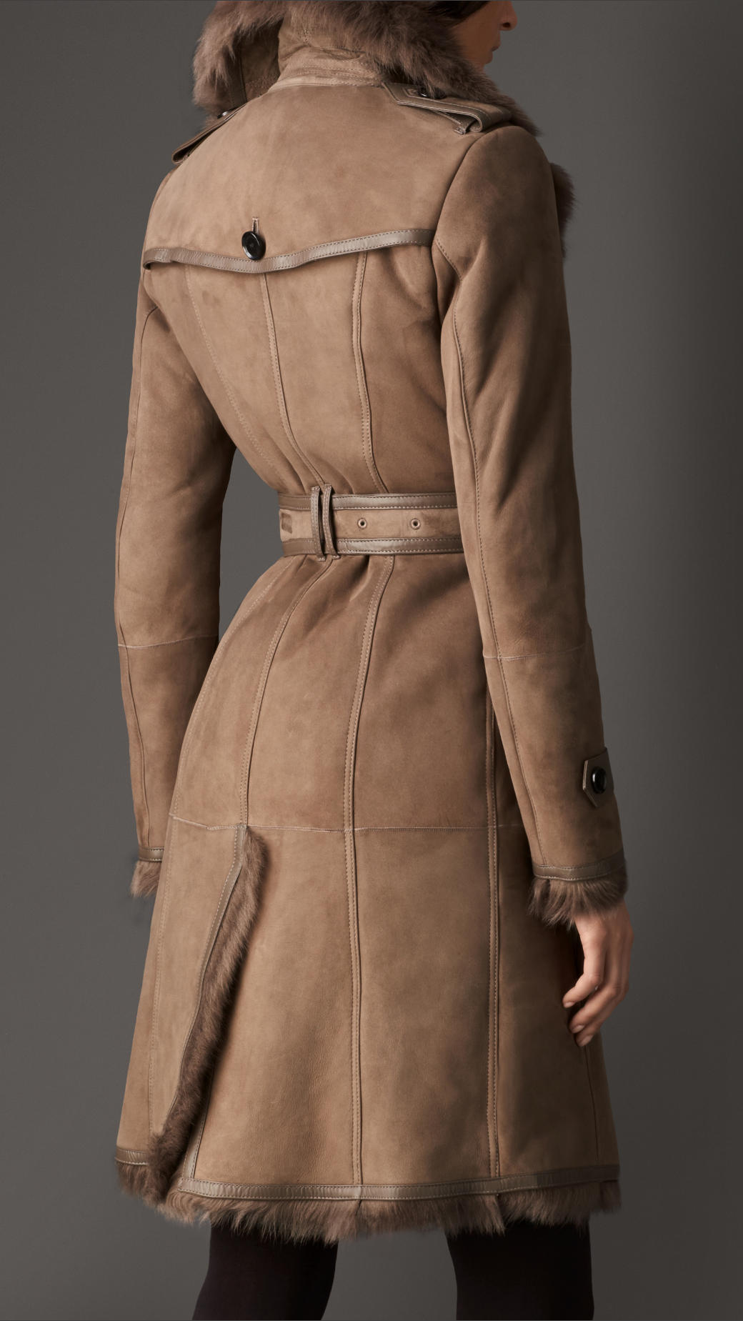 Burberry Long Shearling Trench Coat in Brown