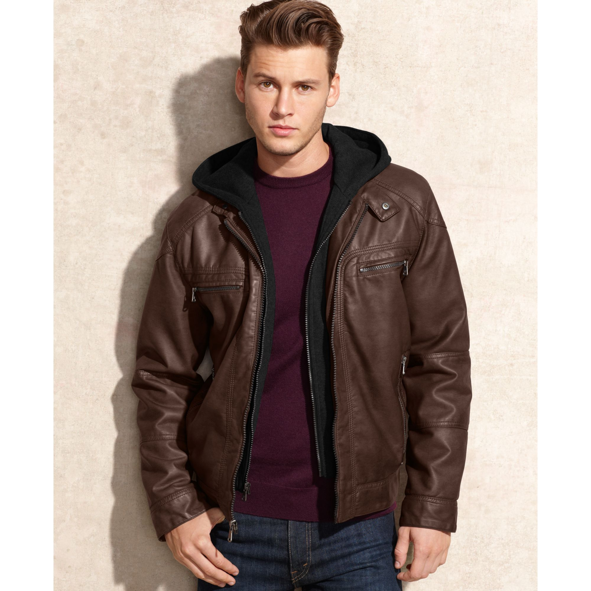 Lyst Calvin Klein Hooded Faux Leather Jacket In Brown