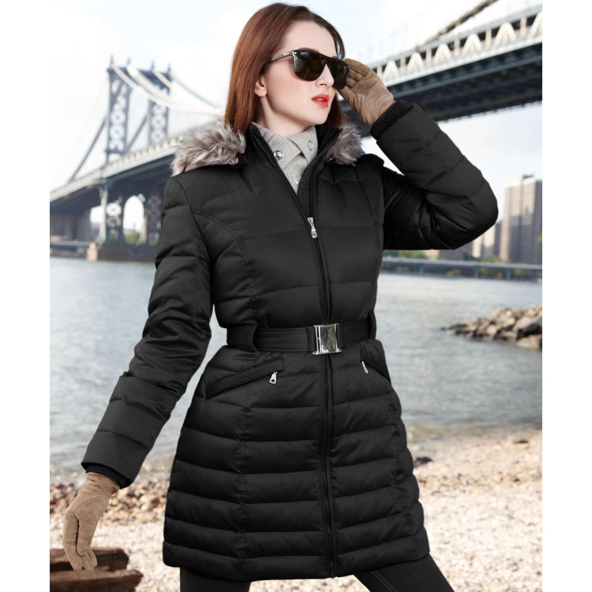 Dkny Faux Fur Trim Hooded Belted Puffer in Black | Lyst