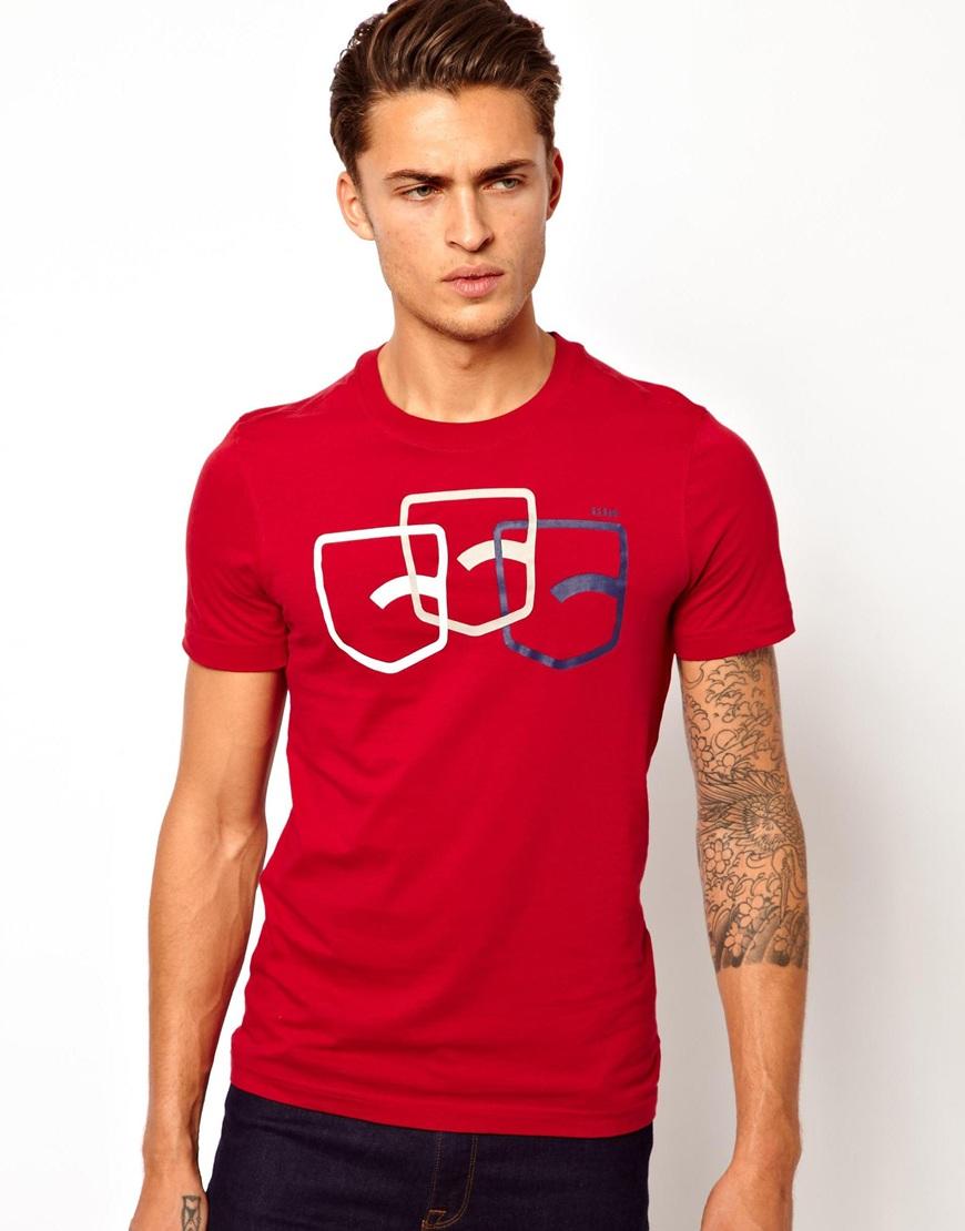 star raw red g star tshirt fraser back pocket print for men lyst. Black Bedroom Furniture Sets. Home Design Ideas