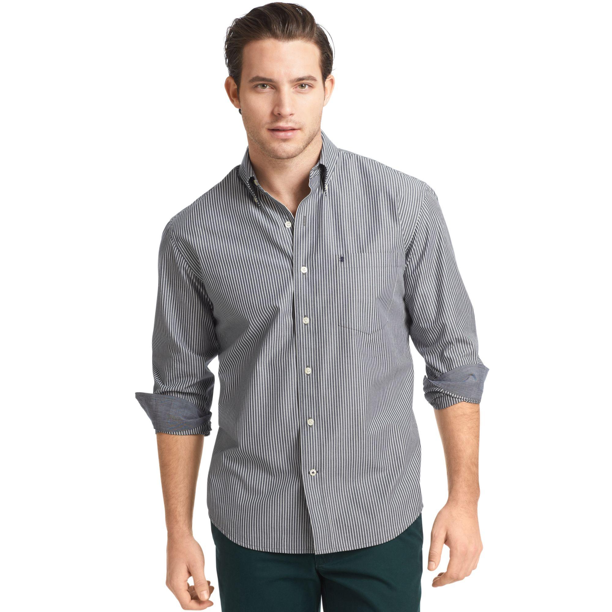 Izod izod big and tall shirt essential long sleeve striped for Izod big and tall shirts