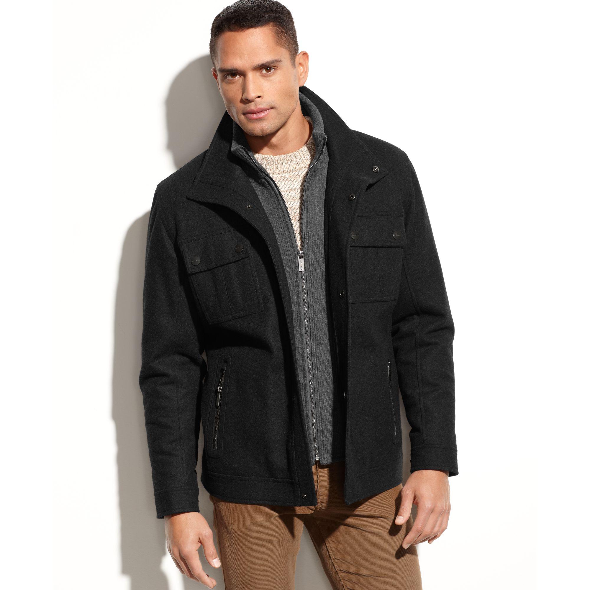 michael kors alhambra wool blend knit bib coat in black for men lyst. Black Bedroom Furniture Sets. Home Design Ideas