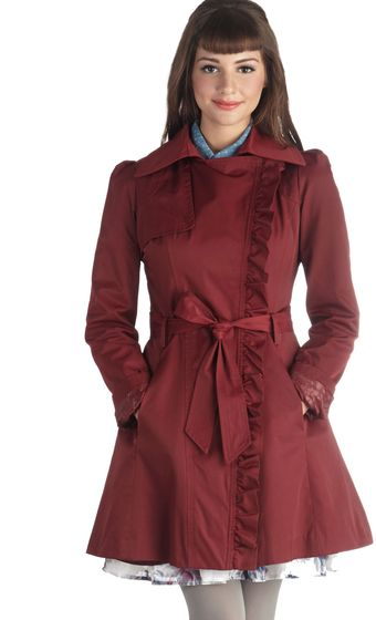 ModCloth Metropolitan Miss Coat in Wine - Lyst