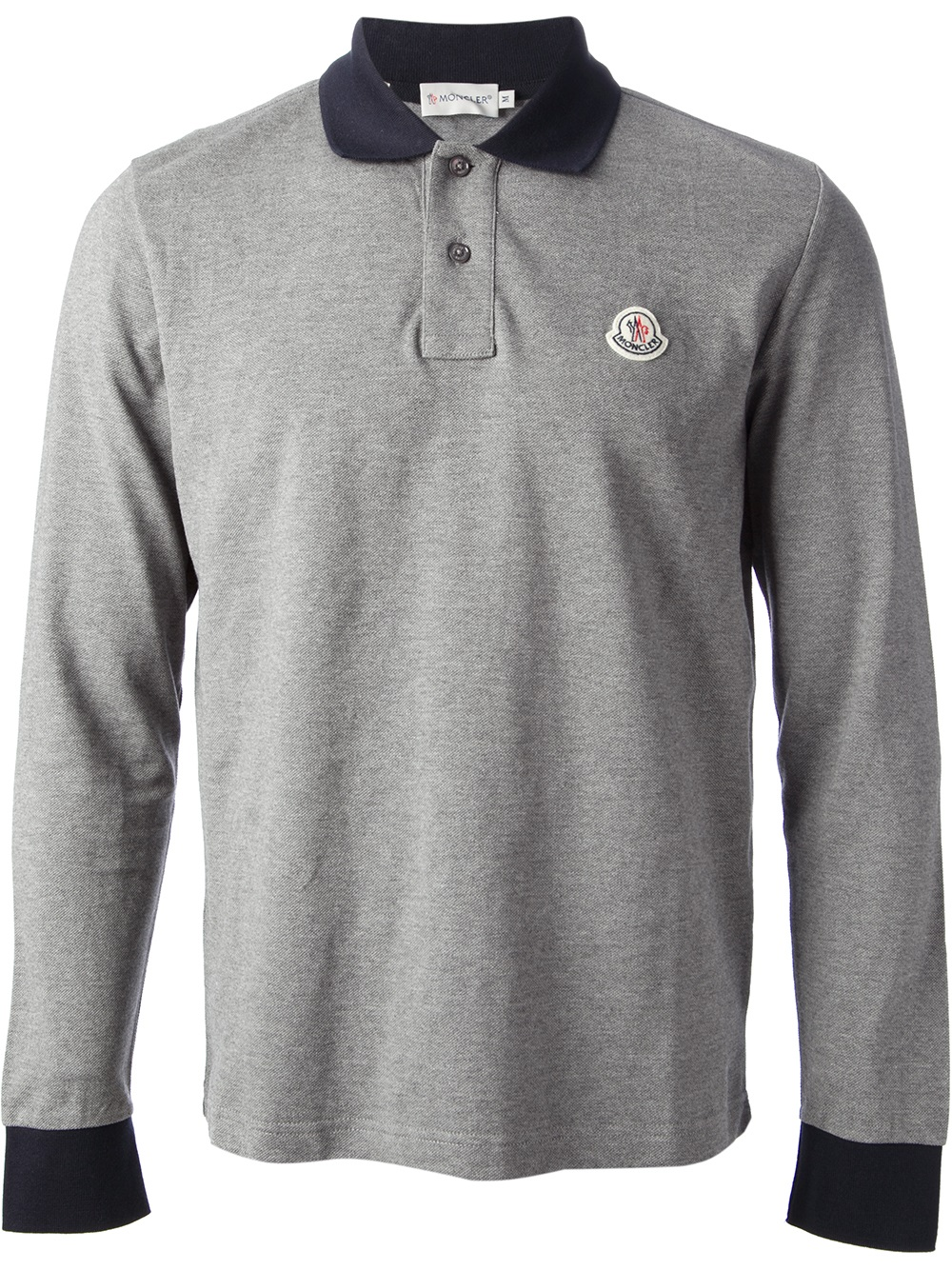 9f19f0c8a Lyst - Moncler Long Sleeve Polo Shirt in Gray for Men