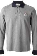 Moncler Long Sleeve Polo Shirt - Lyst