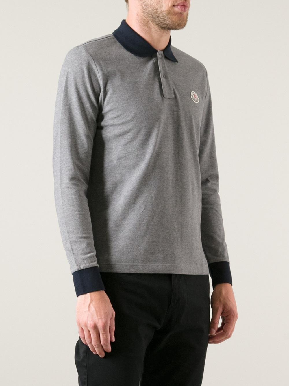 Mens Grey Moncler Polo