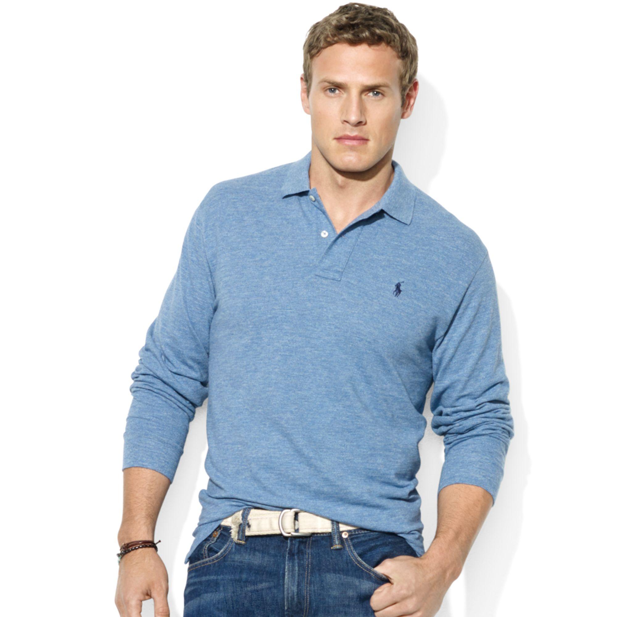 Lyst - Ralph Lauren Classicfit Longsleeve Cotton Mesh Polo in Blue ... cdb9e6d2720f