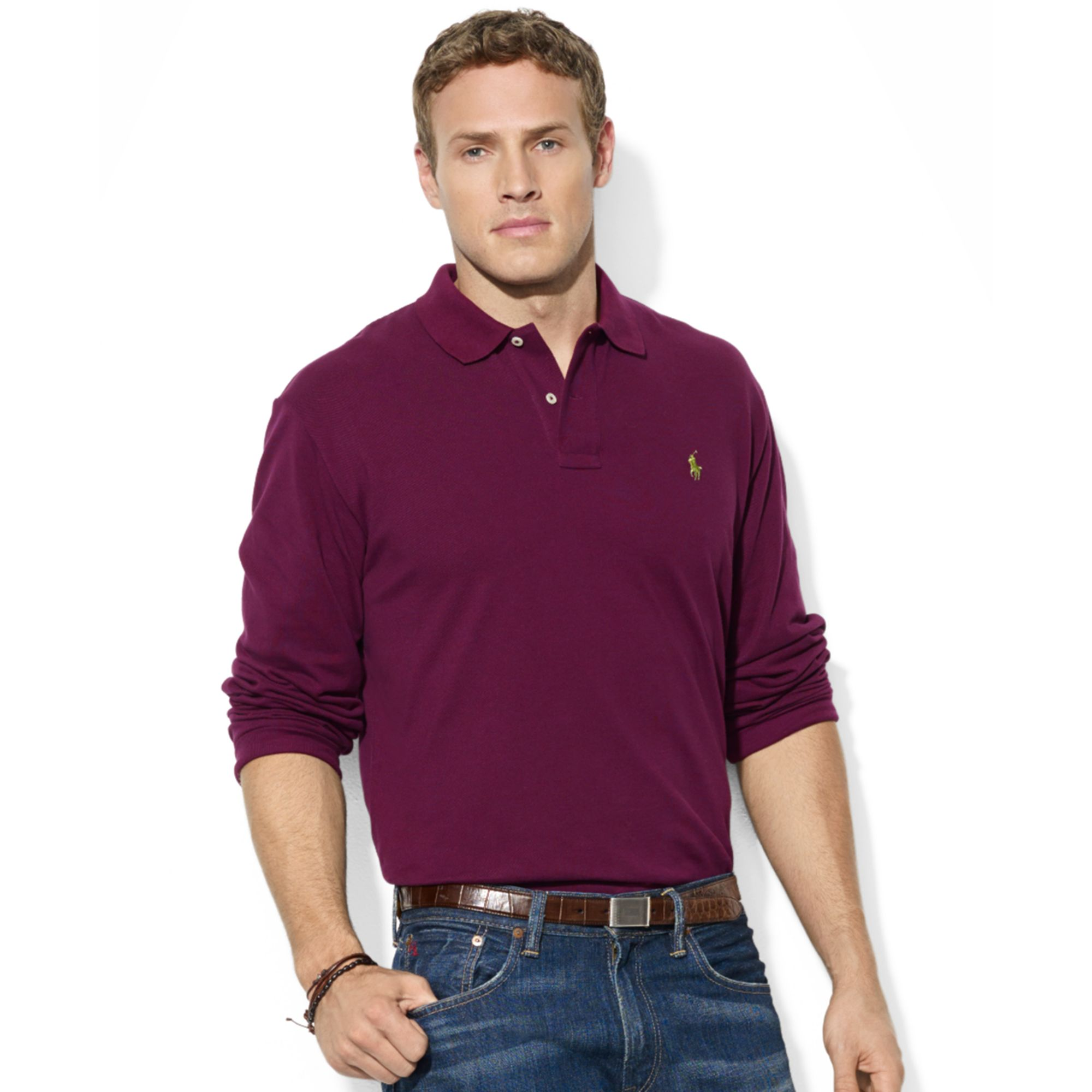 POLO Ralph Lauren Short Sleeved Purple Mesh Men Polo . Latest Cheap Portable Longchamp LM ...