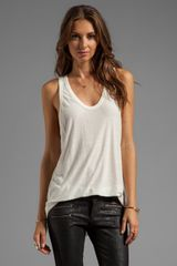 T By Alexander Wang Slub Classic Tank with Pocket in Ivory - Lyst