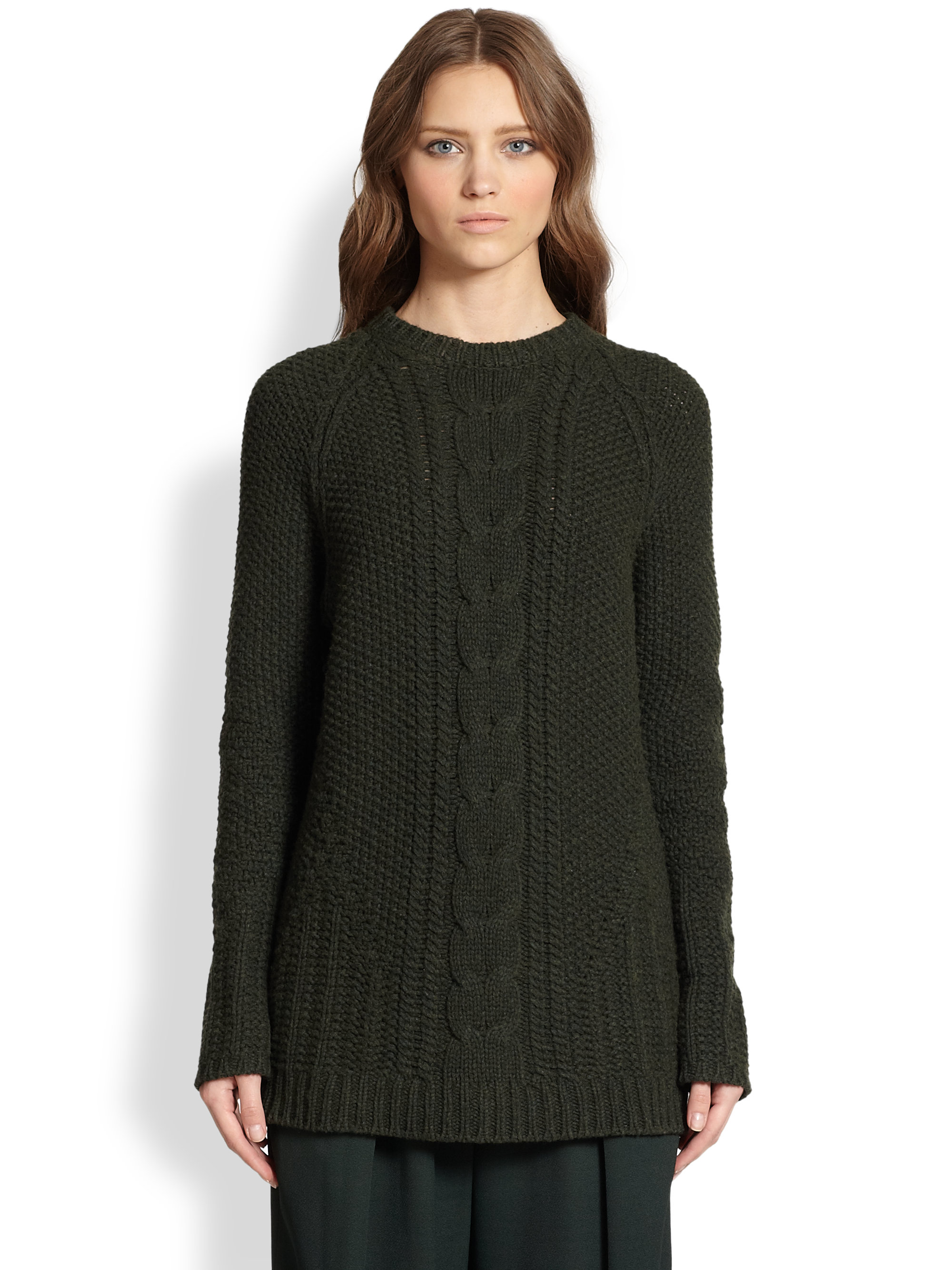 The Row Tesia Cable Knit Merino Wool Cashmere Sweater In