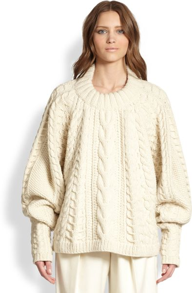 The Row Wool Cashmere Cableknit Blouson Sweater in White (WINTER WHITE)