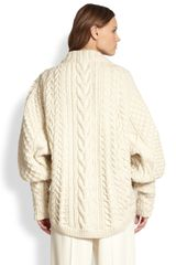 The Row Wool Cashmere Cableknit Blouson Sweater in White (WINTER WHITE) - Lyst