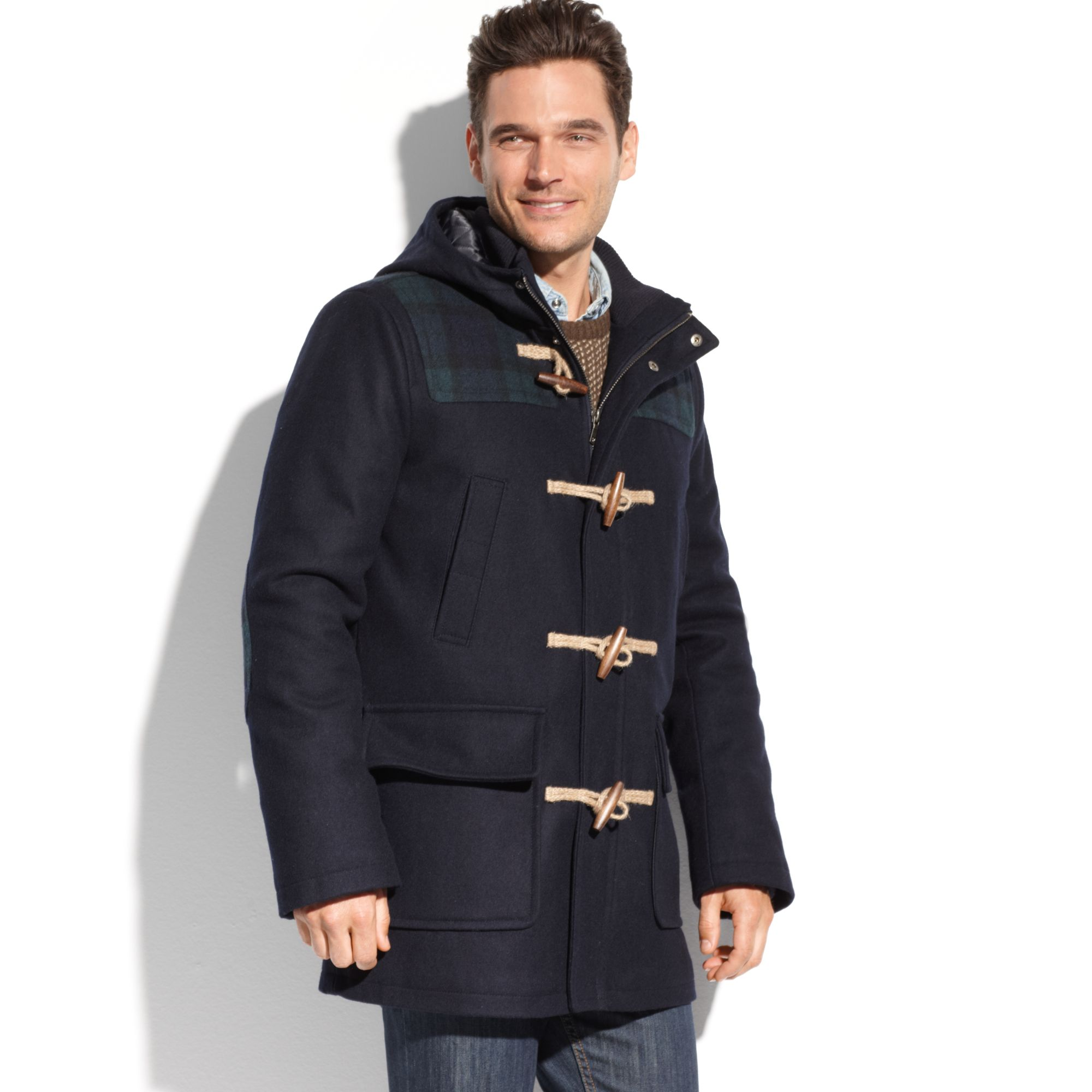 Tommy hilfiger Melton Wool Hooded Toggle Coat in Blue for Men | Lyst