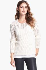 Two By Vince Camuto Open Bubble Stitch Sweater - Lyst
