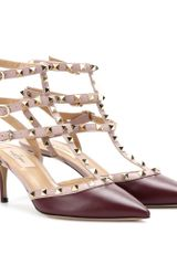 Valentino Rockstud Leather Kitten heel Pumps - Lyst
