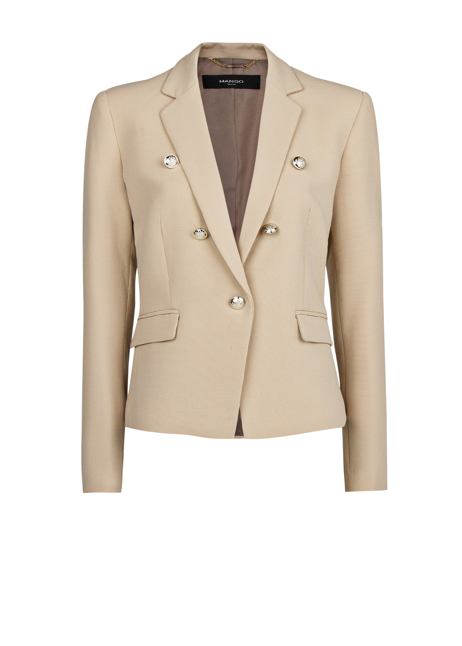 Mango Emblem Button Blazer in Natural | Lyst