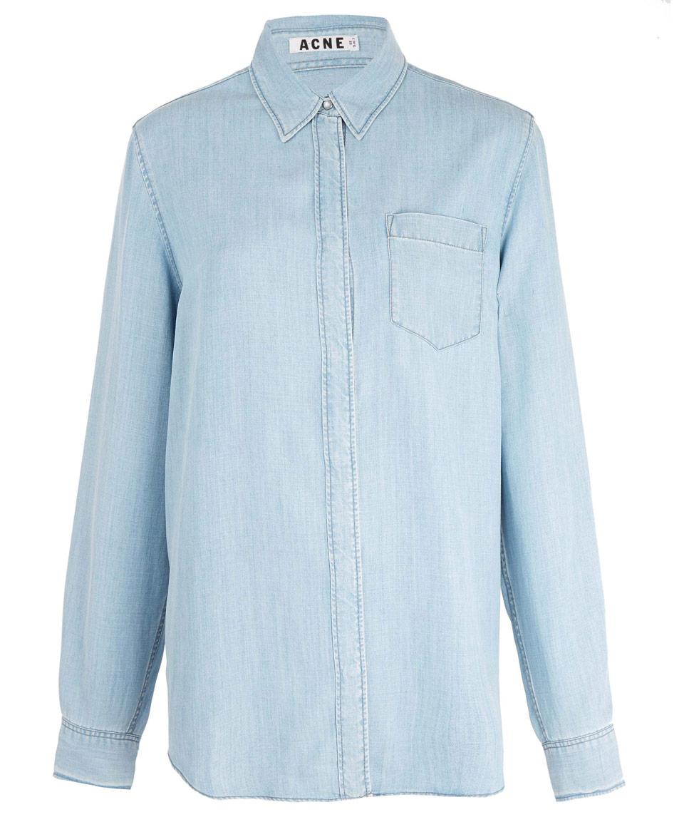 Acne Studios Light Blue Wave Indigo Denim Shirt In Blue Lyst