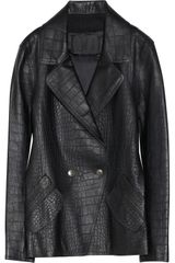 Alexander Wang Crocembossed Leather Coat - Lyst