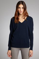 Autumn Cashmere Navy Cashmere V-neck Boyfriend Sweater - Lyst