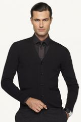 Black Label Ribbed Merino Wool Cardigan - Lyst