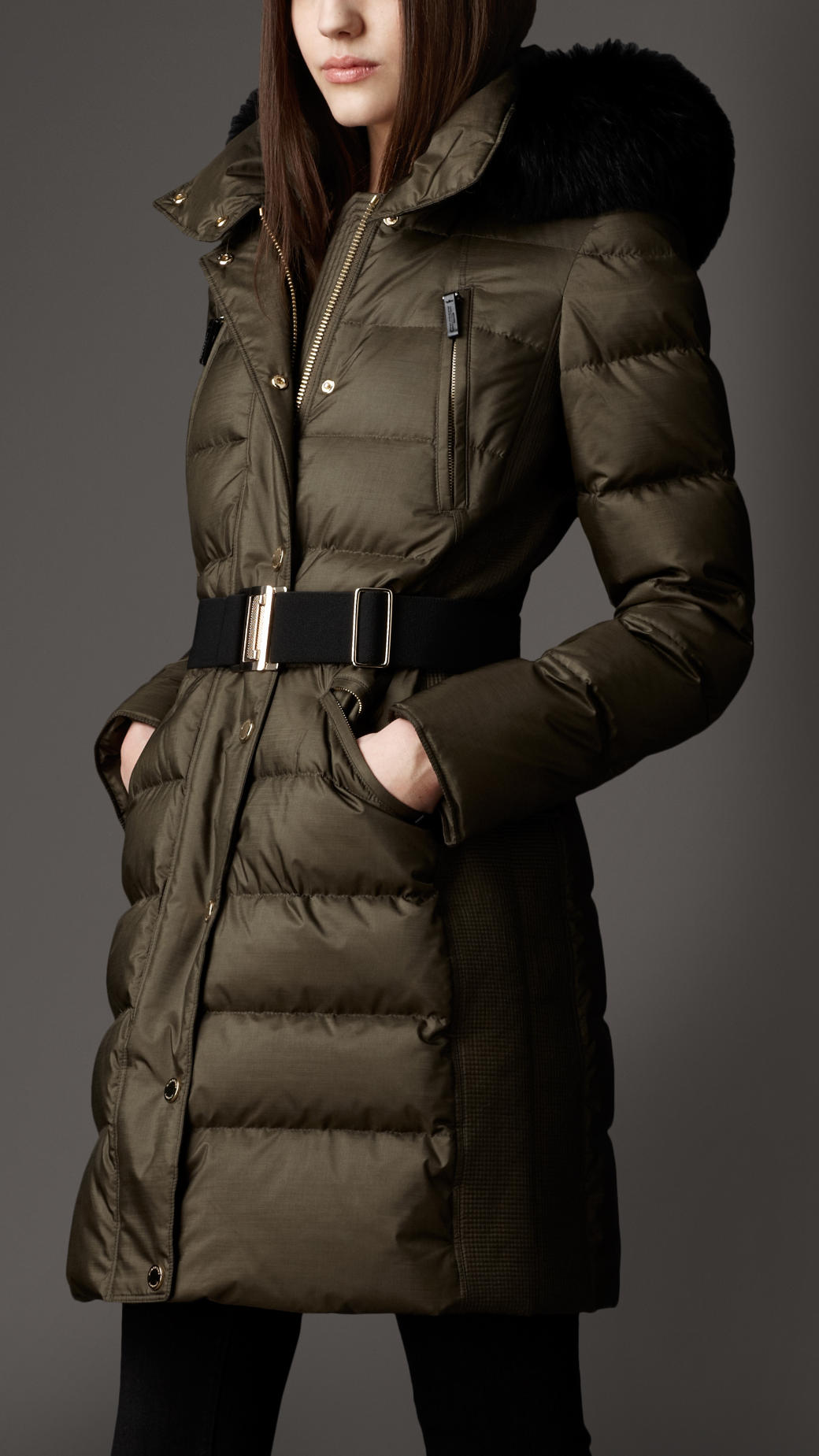 Burberry Fur Trim Puffer Coat In Green Lyst