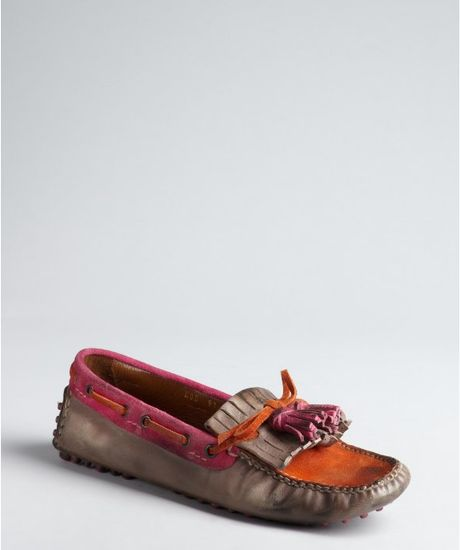 car shoe grey orange and pink leather distressed slip on