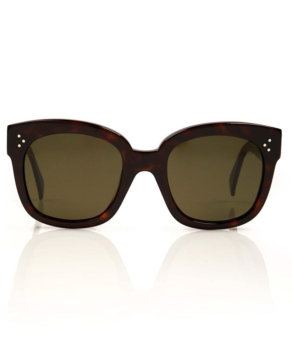Celine Tortoiseshell Audrey Square Frame Sunglasses in ...