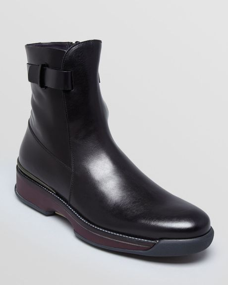 ferragamo sherwood runway leather boots in black for