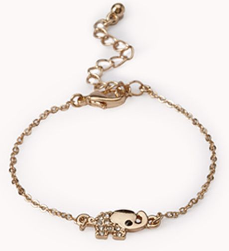 forever 21 sweet elephant charm bracelet in gold lyst