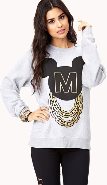 21 Mickey Mouse Nail Art Designs Ideas: Forever 21 Streetchic Mickey Mouse Sweatshirt In White