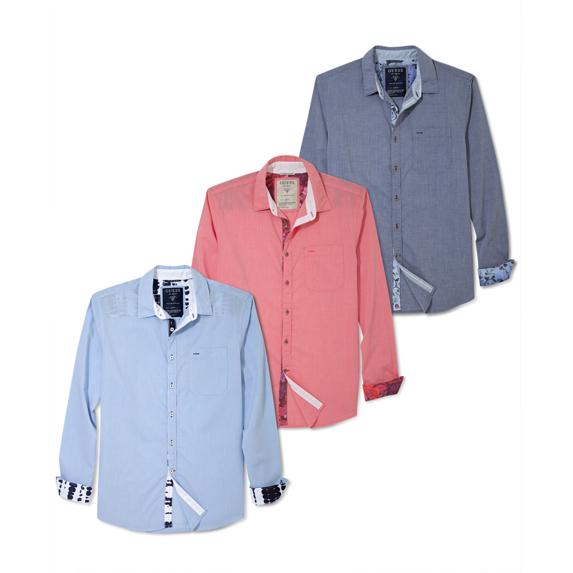 Guess Slim Fit Long Sleeve Clark Shirt In Multicolor For