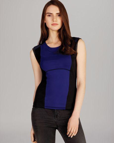 Karen Millen Color Block Jersey Top In Black (Black/Blue