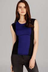 Karen Millen Color Block Jersey Top - Lyst