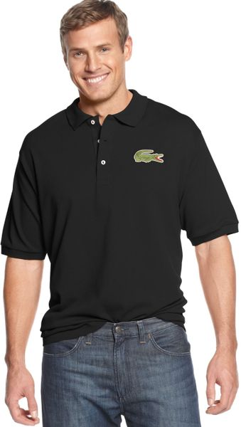 Lacoste oversized crocodile pique polo in black for men lyst for Lacoste shirts with big alligator